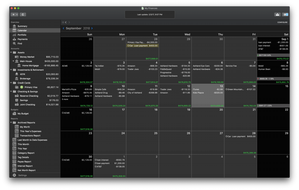 Banktivity 7 Calendar View Dark Mode