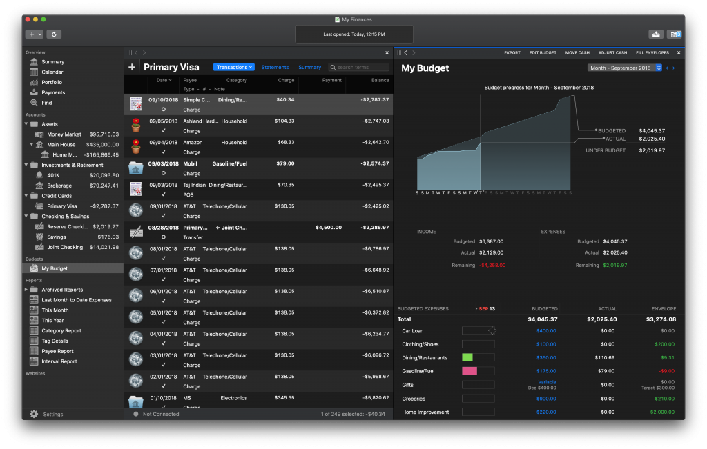 Banktivity in Dark Mode with two workspaces: regular register and budget