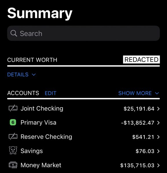 Redacted net worth on the summary screen of iPhone for Banktivity