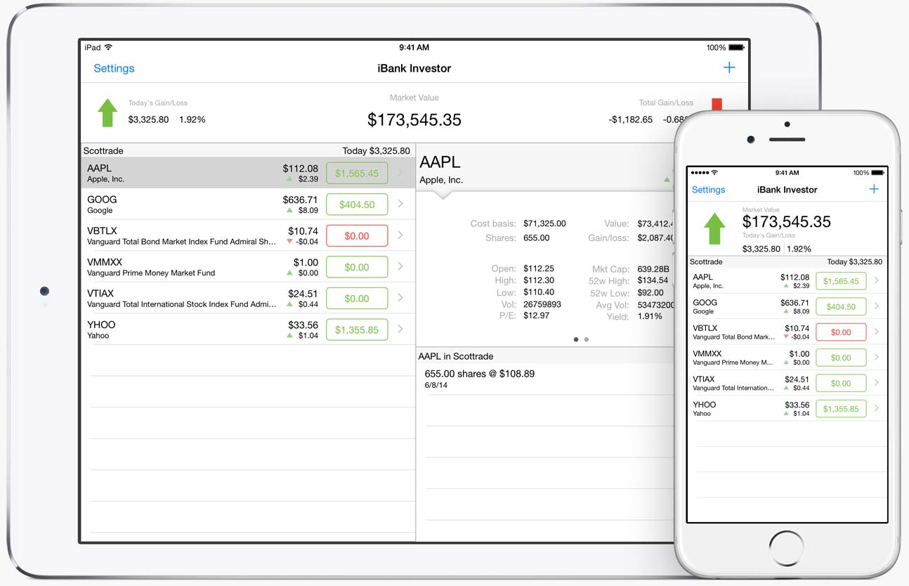 Banktivity Investor on iPad and iPhone